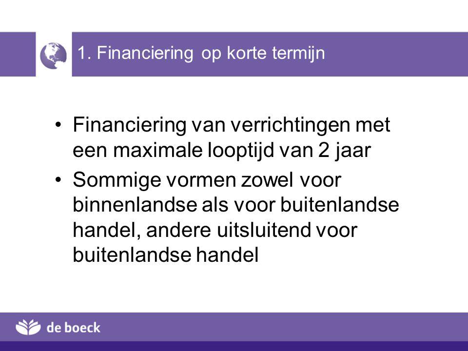 1. Financiering op korte termijn