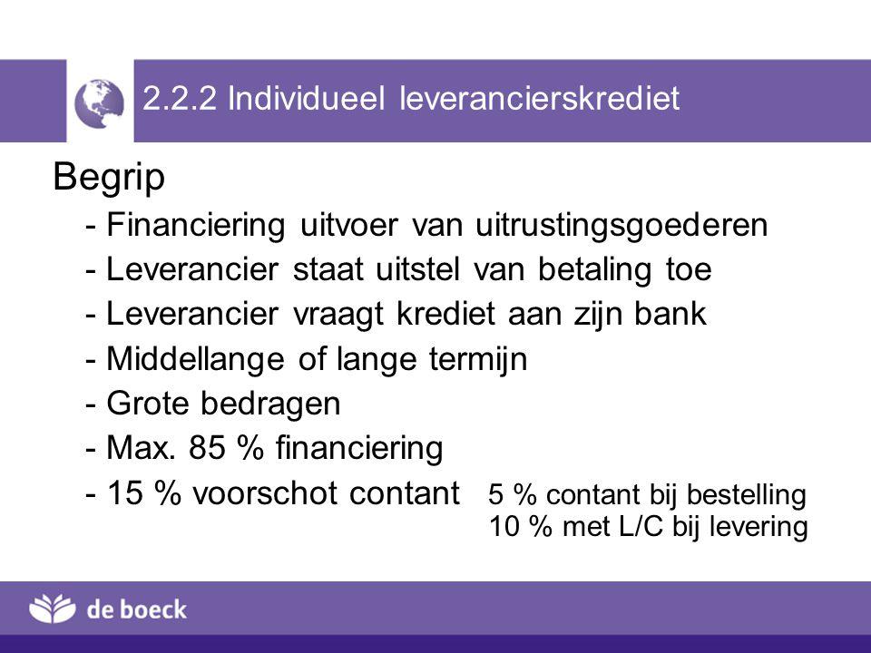 2.2.2 Individueel leverancierskrediet