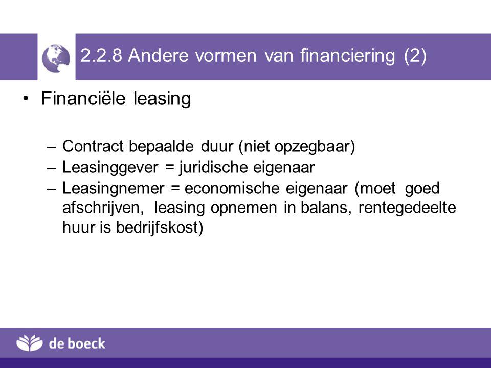 2.2.8 Andere vormen van financiering (2)