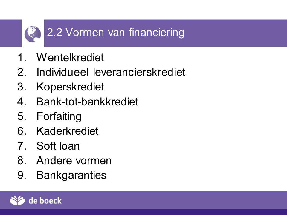 2.2 Vormen van financiering