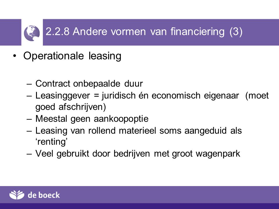 2.2.8 Andere vormen van financiering (3)