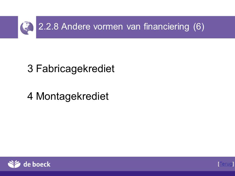 2.2.8 Andere vormen van financiering (6)