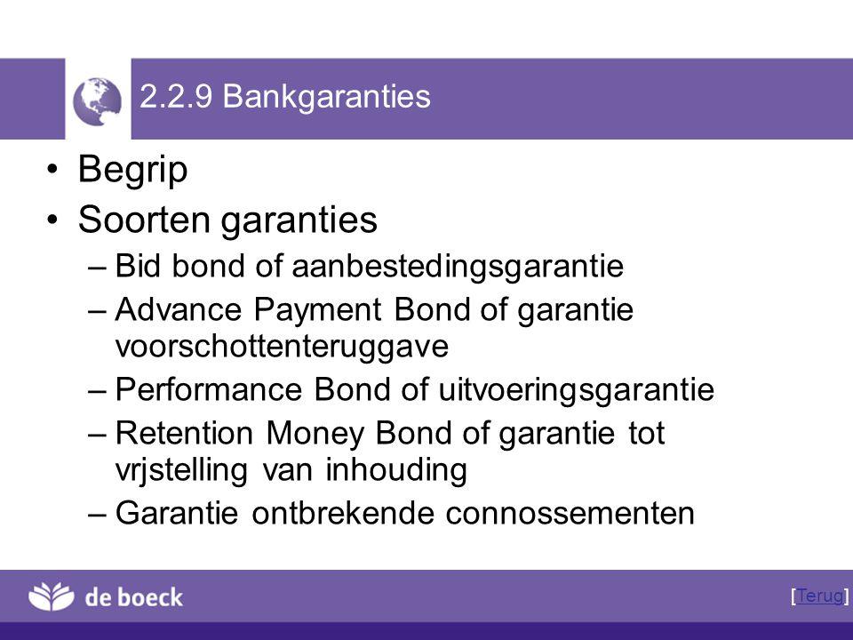 Begrip Soorten garanties 2.2.9 Bankgaranties
