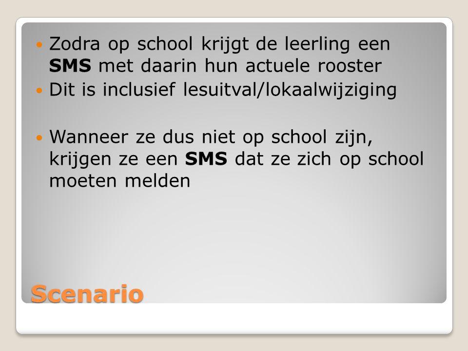 Zodra op school krijgt de leerling een SMS met daarin hun actuele rooster
