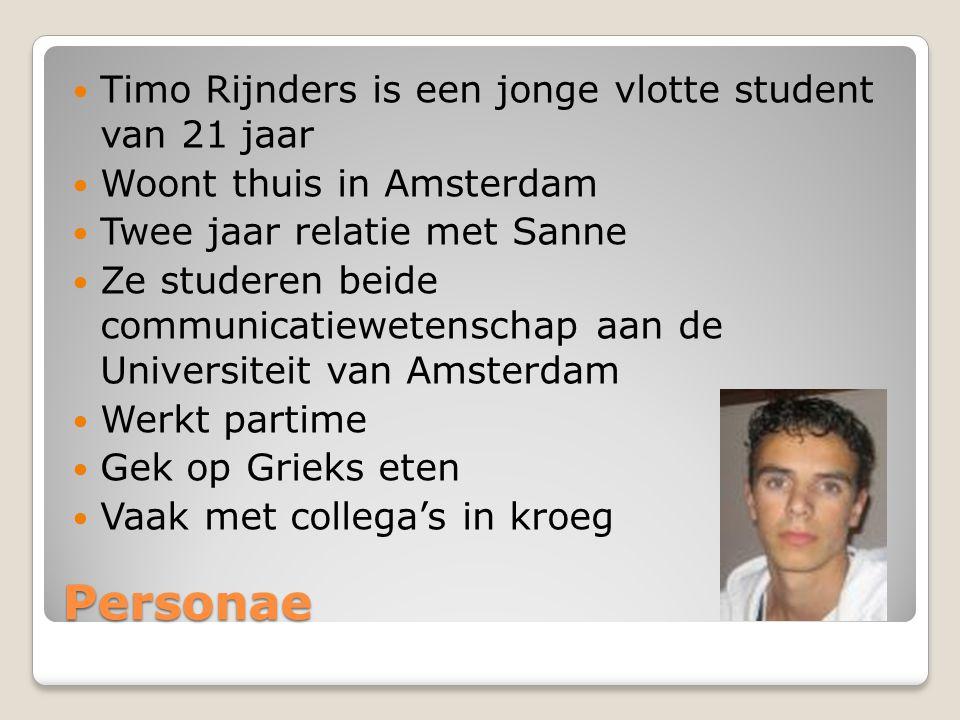 Personae Timo Rijnders is een jonge vlotte student van 21 jaar
