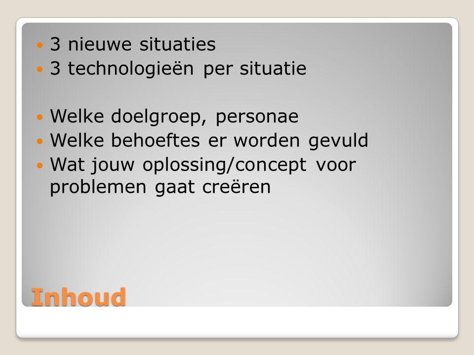 Inhoud 3 nieuwe situaties 3 technologieën per situatie