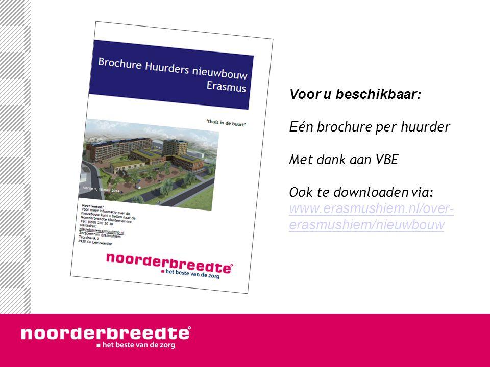 Voor u beschikbaar: Eén brochure per huurder. Met dank aan VBE.