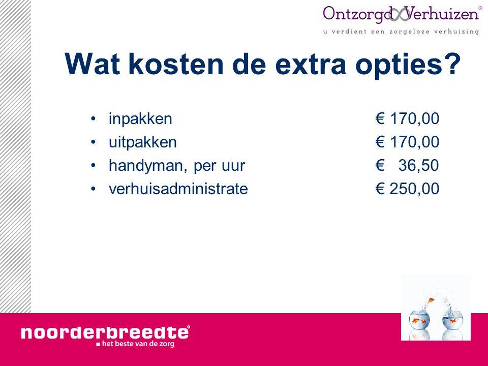 Wat kosten de extra opties