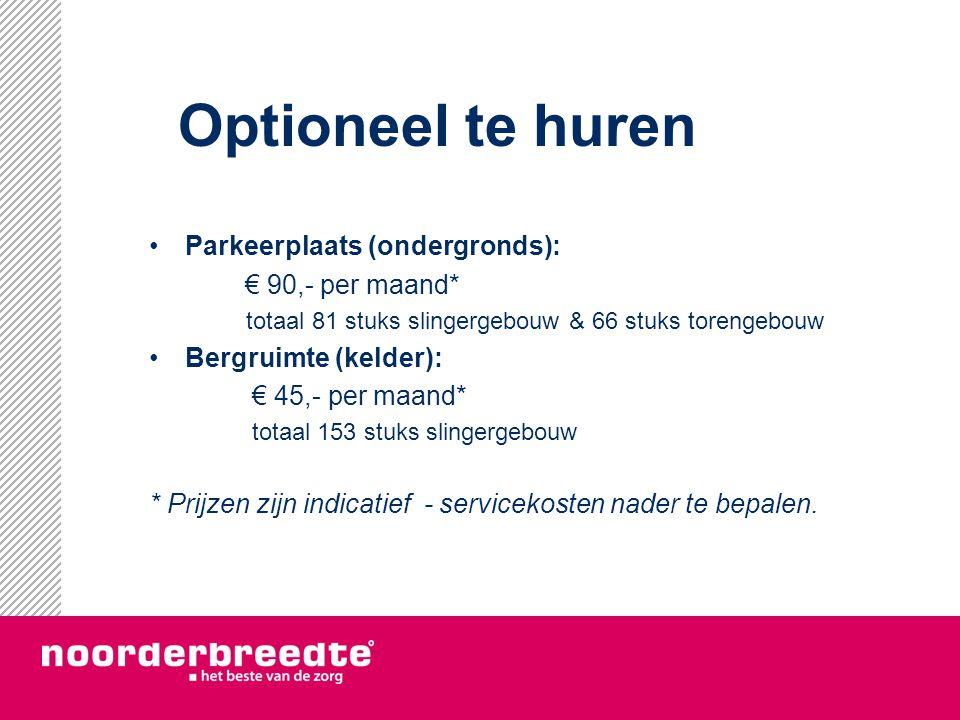 Optioneel te huren Parkeerplaats (ondergronds): € 90,- per maand*
