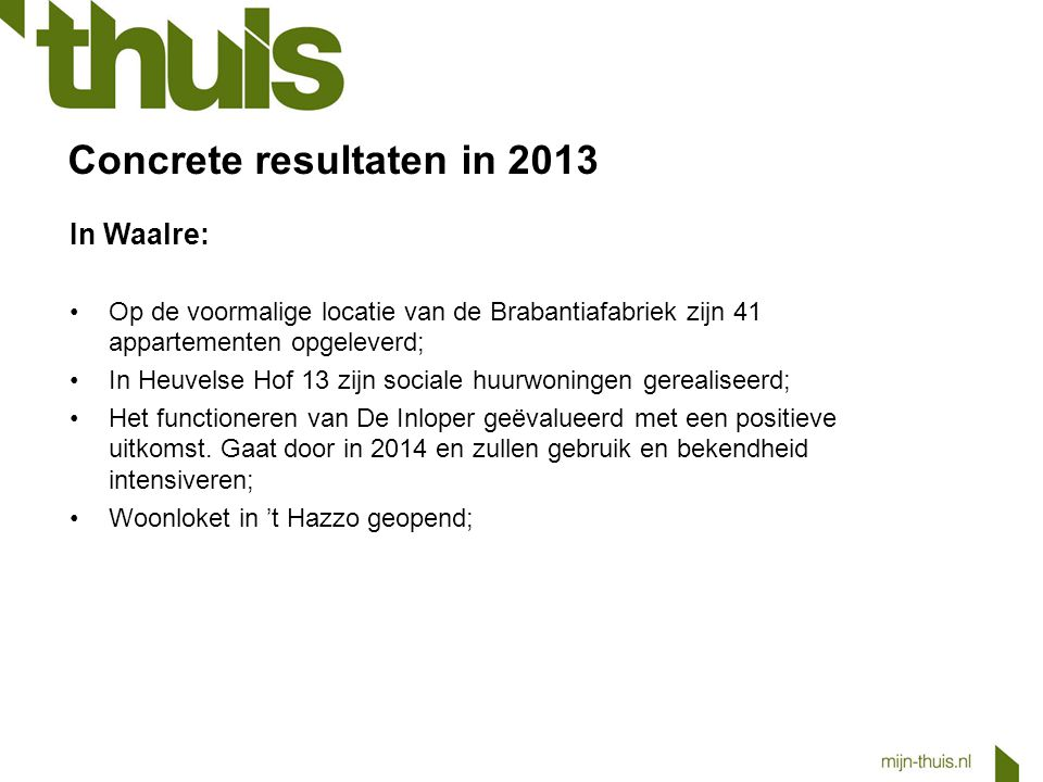 Concrete resultaten in 2013