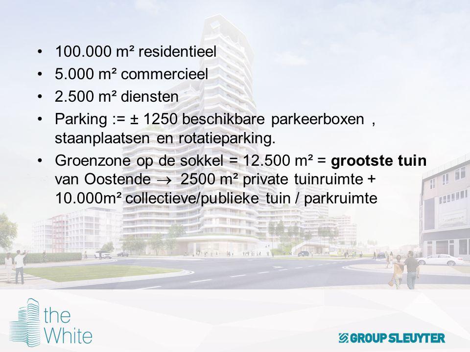 100.000 m² residentieel 5.000 m² commercieel. 2.500 m² diensten. Parking := ± 1250 beschikbare parkeerboxen , staanplaatsen en rotatieparking.