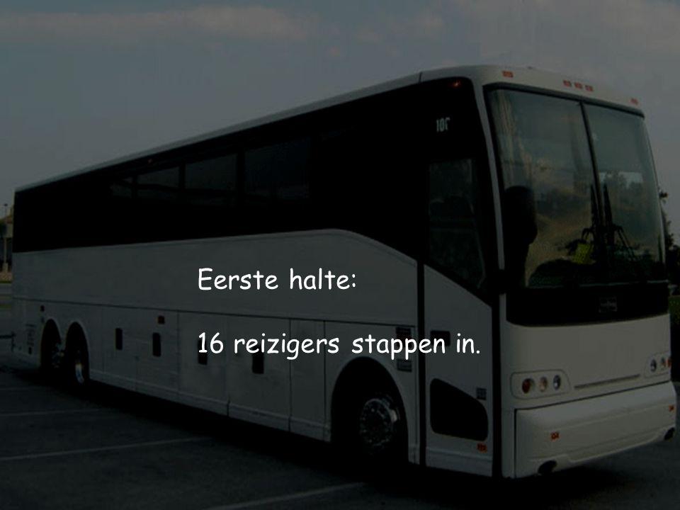 Eerste halte: 16 reizigers stappen in.