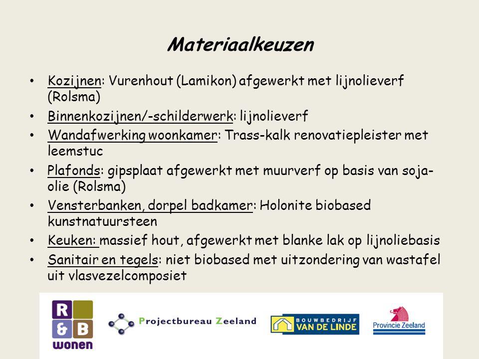 Materiaalkeuzen Kozijnen: Vurenhout (Lamikon) afgewerkt met lijnolieverf (Rolsma) Binnenkozijnen/-schilderwerk: lijnolieverf.