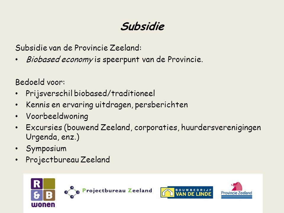 Subsidie Subsidie van de Provincie Zeeland:
