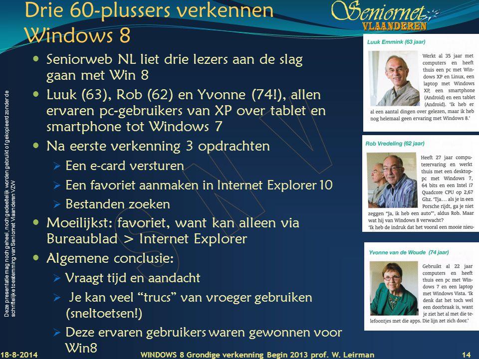 Drie 60-plussers verkennen Windows 8
