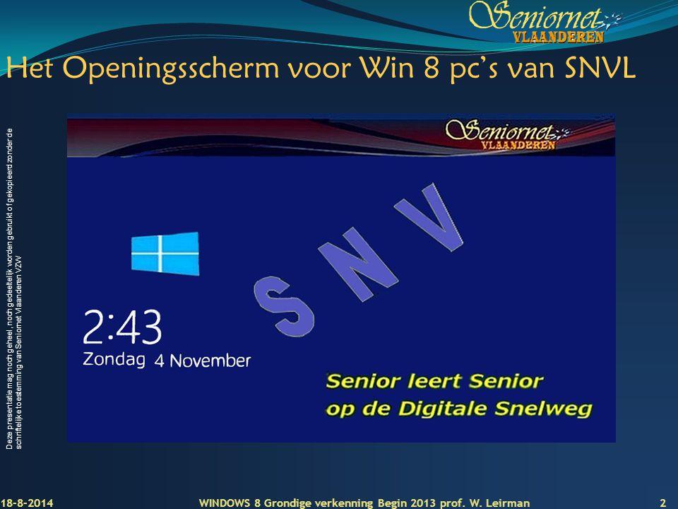 Het Openingsscherm voor Win 8 pc's van SNVL