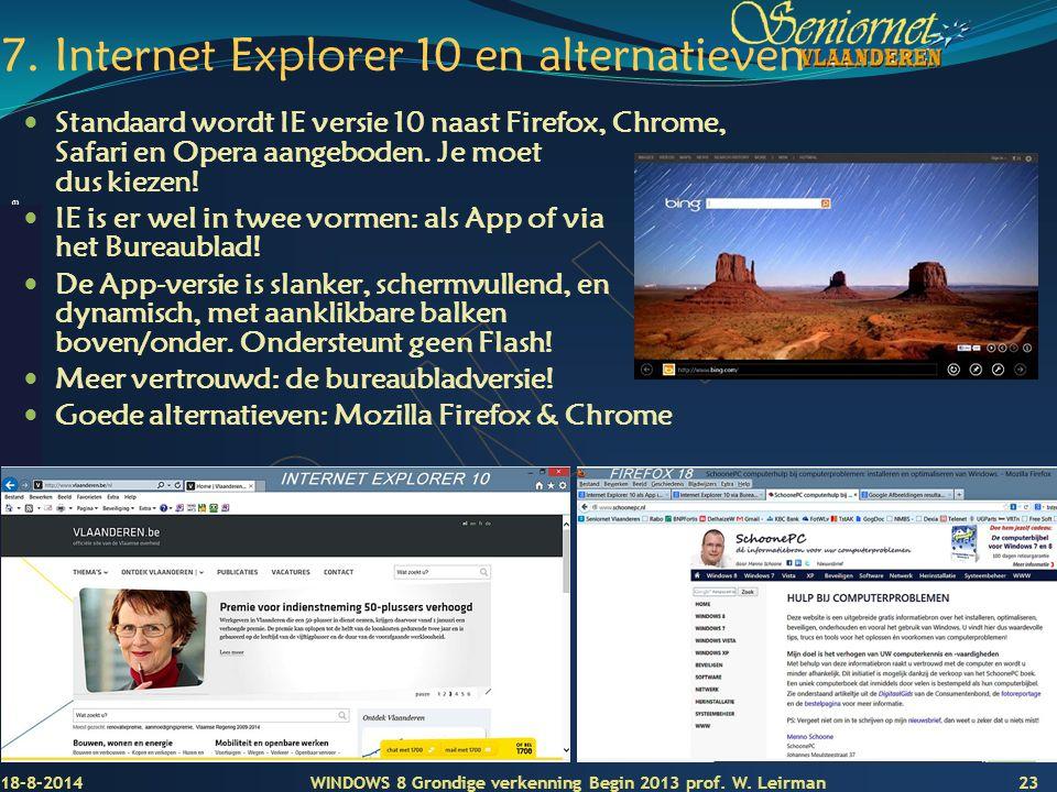 7. Internet Explorer 10 en alternatieven