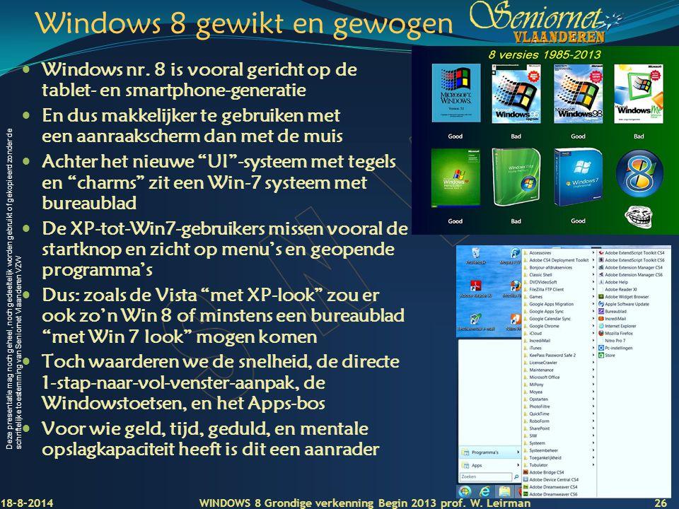 Windows 8 gewikt en gewogen