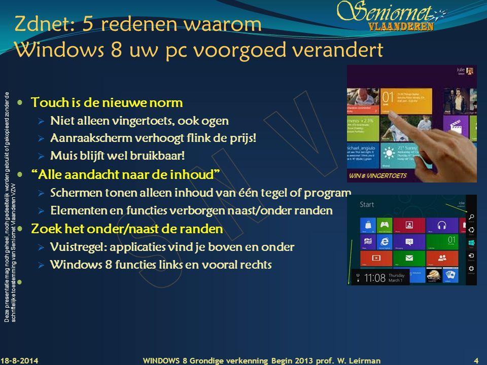 Zdnet: 5 redenen waarom Windows 8 uw pc voorgoed verandert