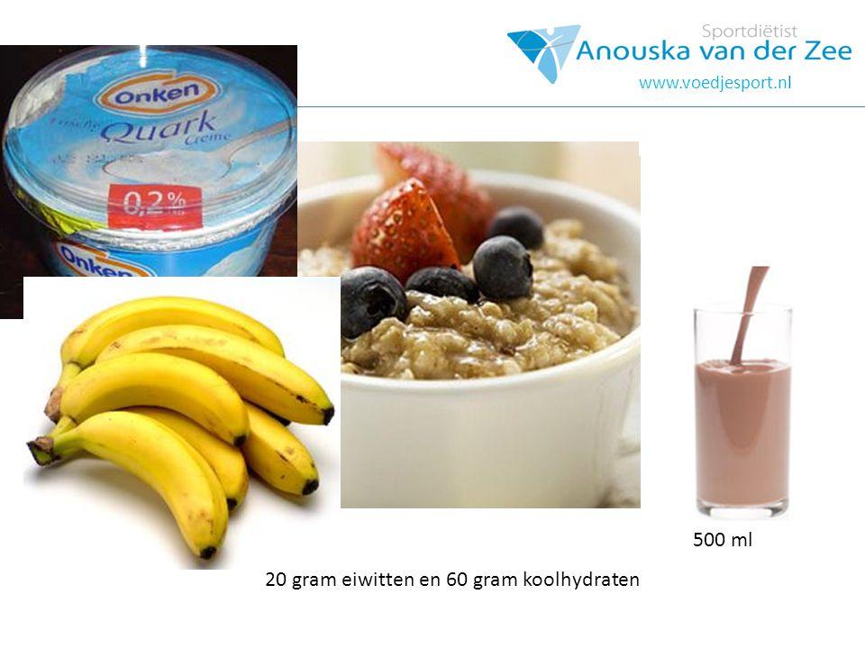 20 gram eiwitten en 60 gram koolhydraten