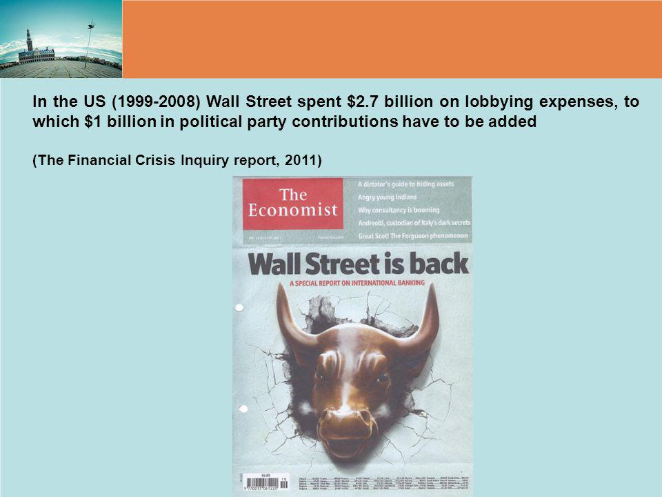 In the US (1999-2008) Wall Street spent $2