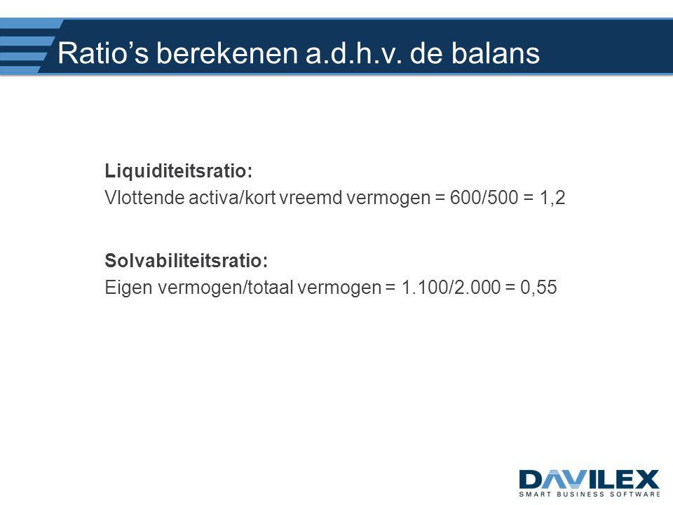 Ratio's berekenen a.d.h.v. de balans