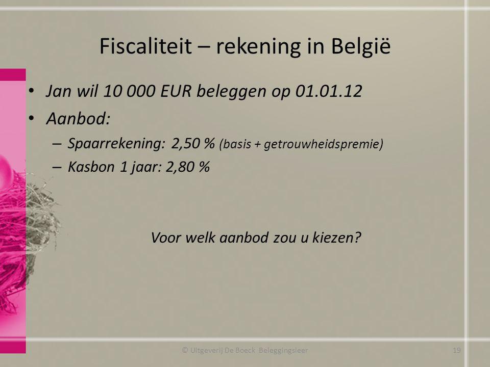 Fiscaliteit – rekening in België
