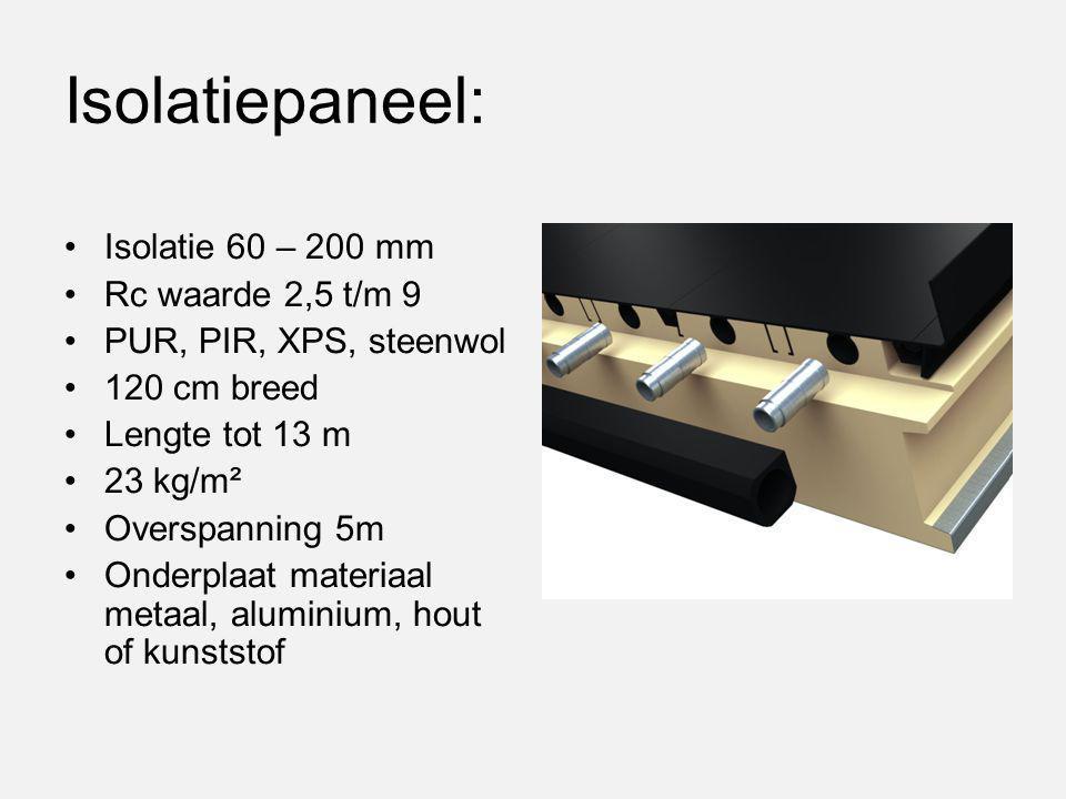 Isolatiepaneel: Isolatie 60 – 200 mm Rc waarde 2,5 t/m 9