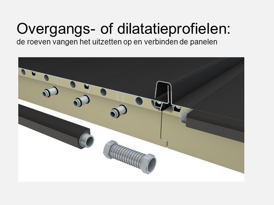 Overgangs- of dilatatieprofielen: de roeven vangen het uitzetten op en verbinden de panelen