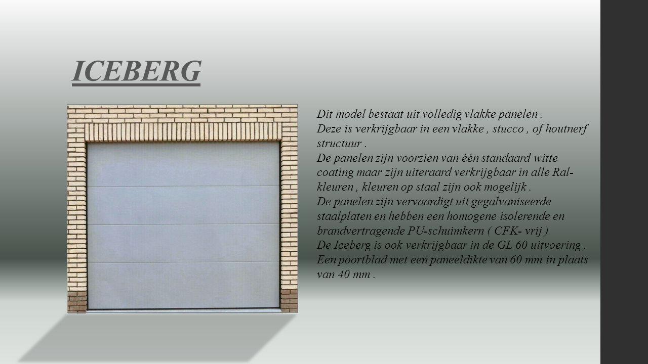ICEBERG Dit model bestaat uit volledig vlakke panelen .