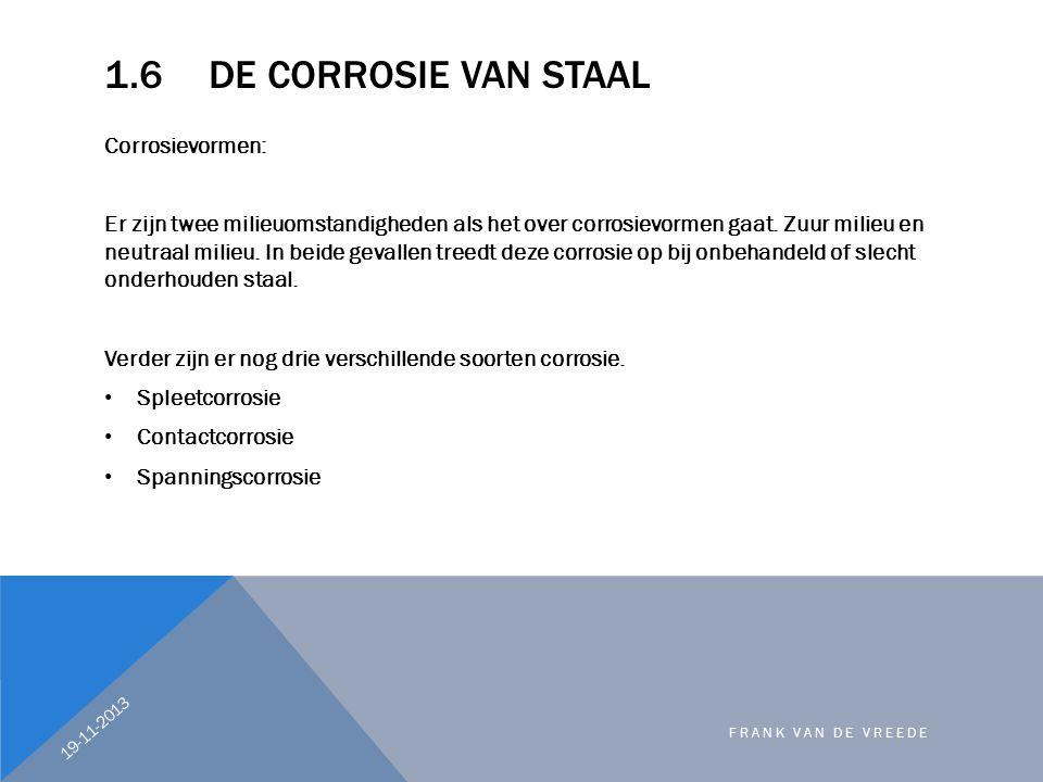 1.6 De corrosie van staal Corrosievormen:
