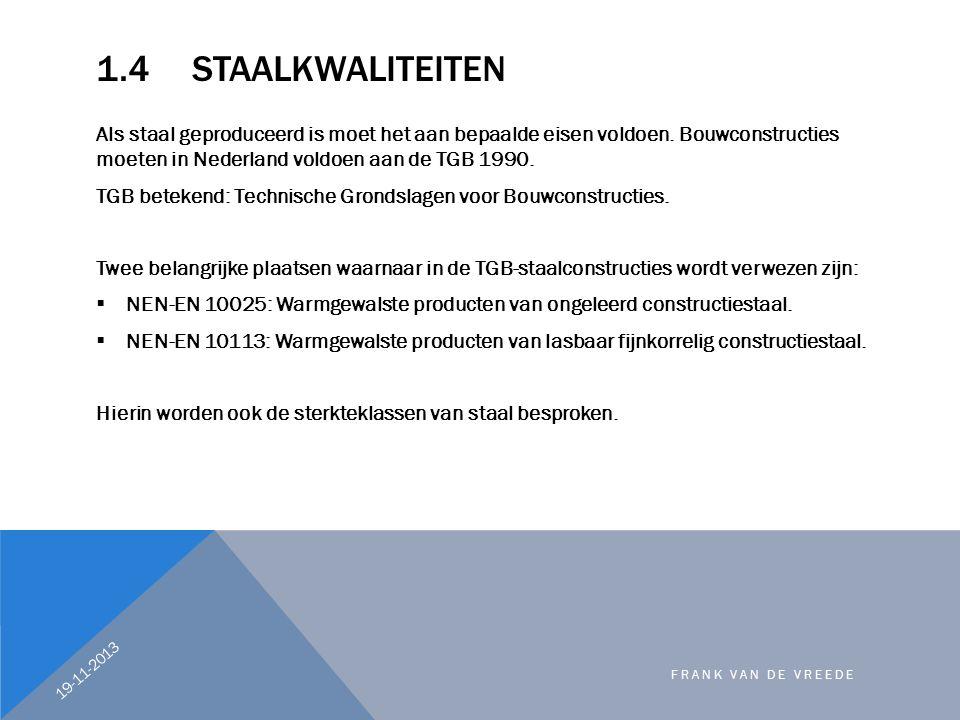 1.4 Staalkwaliteiten Als staal geproduceerd is moet het aan bepaalde eisen voldoen. Bouwconstructies moeten in Nederland voldoen aan de TGB 1990.