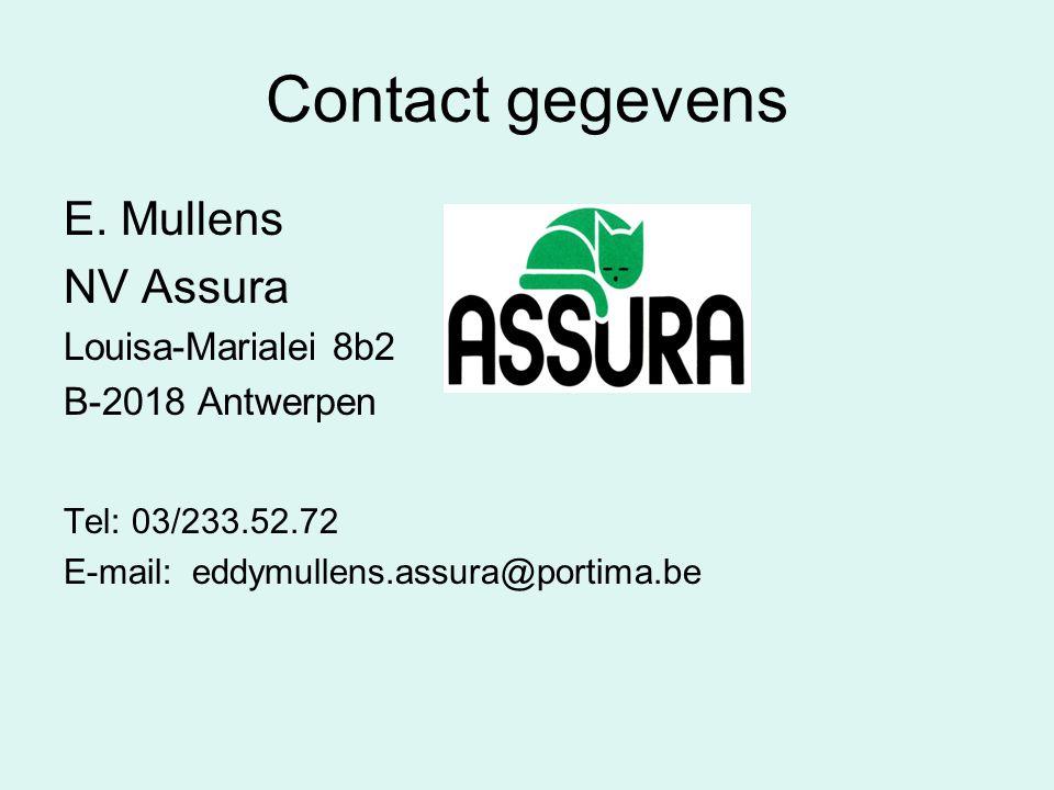Contact gegevens E. Mullens NV Assura Louisa-Marialei 8b2