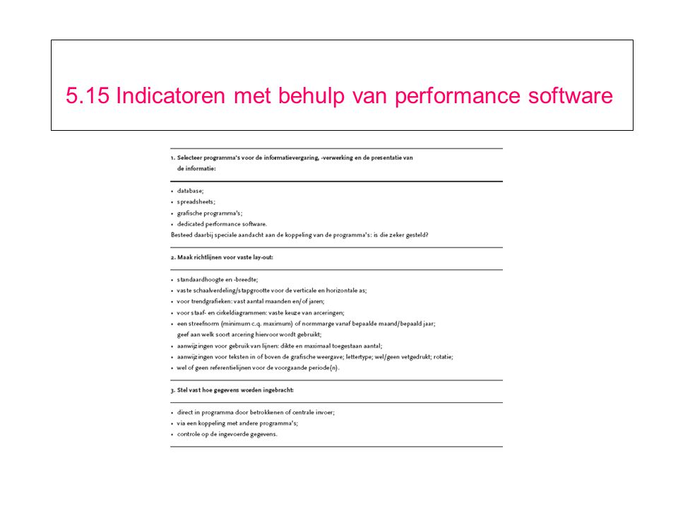 5.15 Indicatoren met behulp van performance software