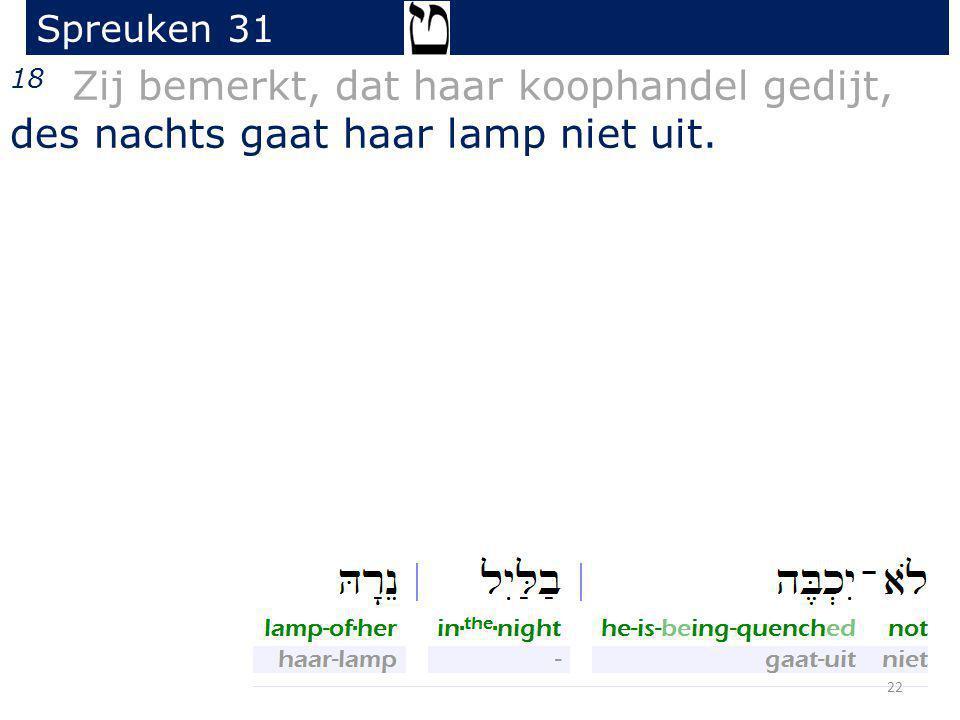 Spreuken 31 18 Zij bemerkt, dat haar koophandel gedijt, des nachts gaat haar lamp niet uit.
