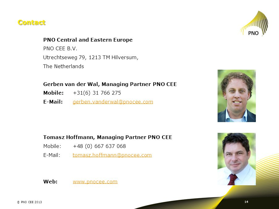 Contact PNO Central and Eastern Europe PNO CEE B.V.