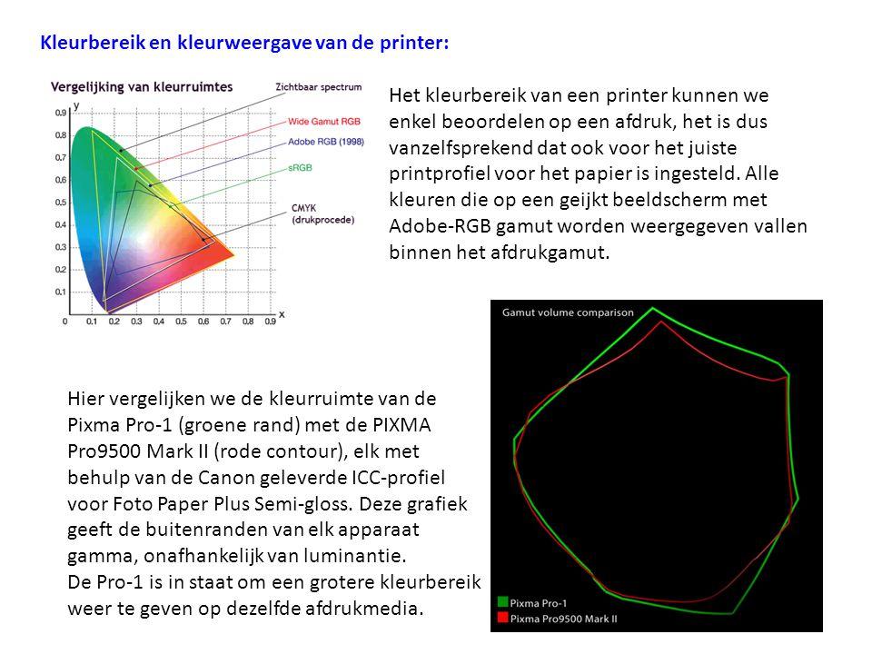 Kleurbereik en kleurweergave van de printer: