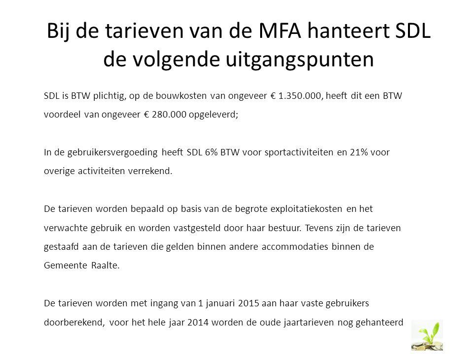 Bij de tarieven van de MFA hanteert SDL de volgende uitgangspunten