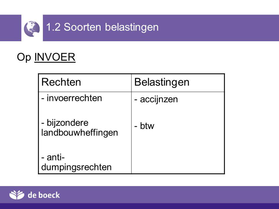 1.2 Soorten belastingen Op INVOER Rechten Belastingen - invoerrechten