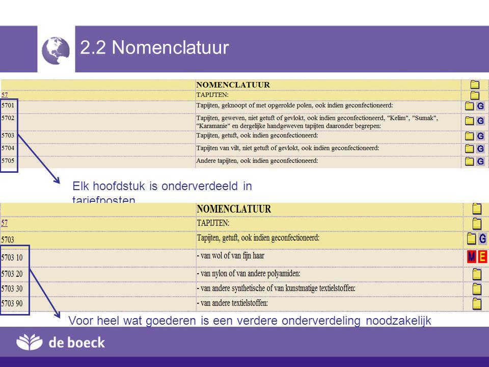2.2 Nomenclatuur Elk hoofdstuk is onderverdeeld in tariefposten