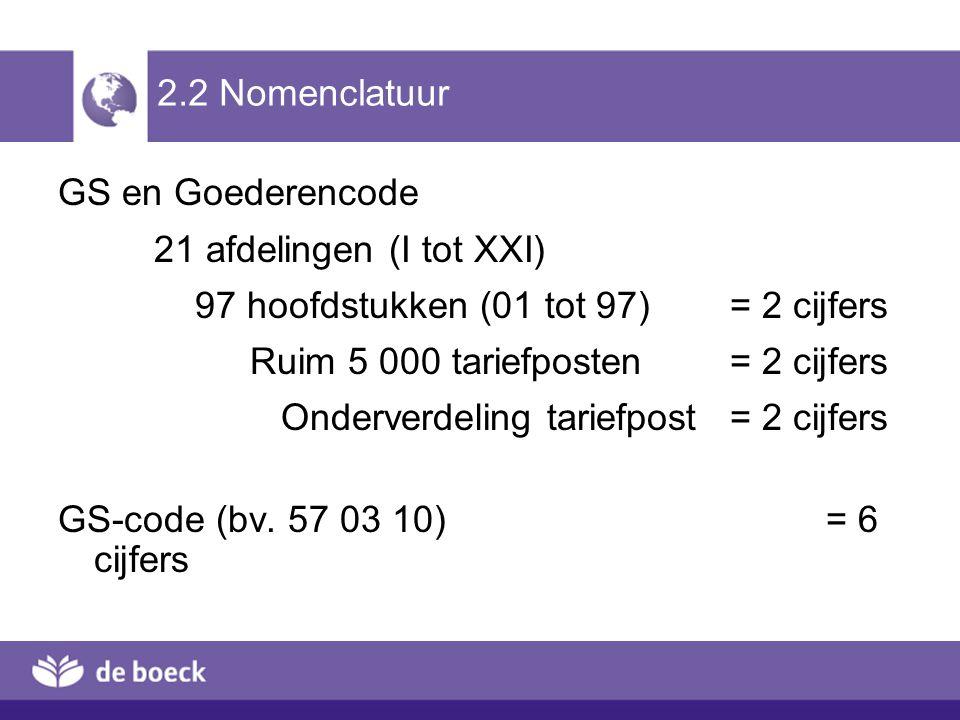 2.2 Nomenclatuur GS en Goederencode. 21 afdelingen (I tot XXI) 97 hoofdstukken (01 tot 97) = 2 cijfers.