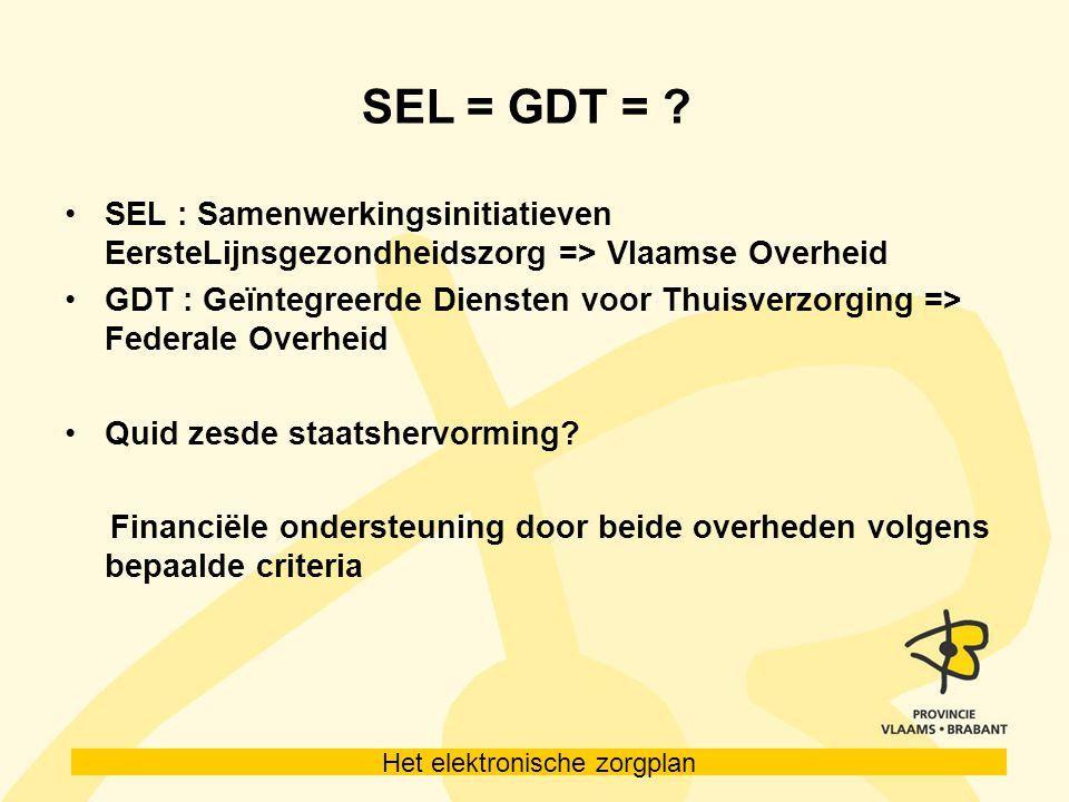 SEL = GDT = SEL : Samenwerkingsinitiatieven EersteLijnsgezondheidszorg => Vlaamse Overheid.