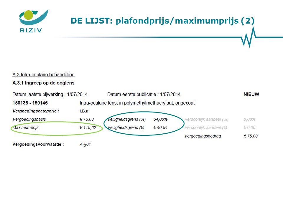 DE LIJST: plafondprijs/maximumprijs (2)