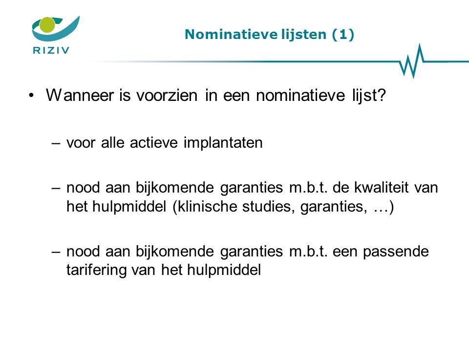Nominatieve lijsten (1)