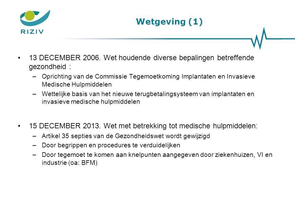 Wetgeving (1) 13 DECEMBER 2006. Wet houdende diverse bepalingen betreffende gezondheid :