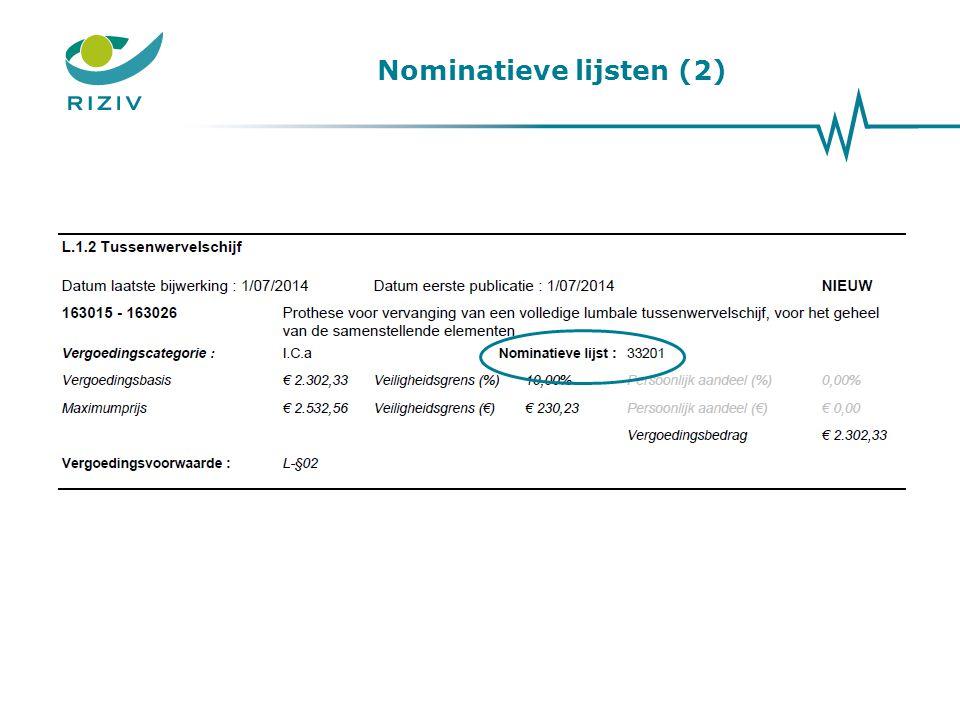 Nominatieve lijsten (2)