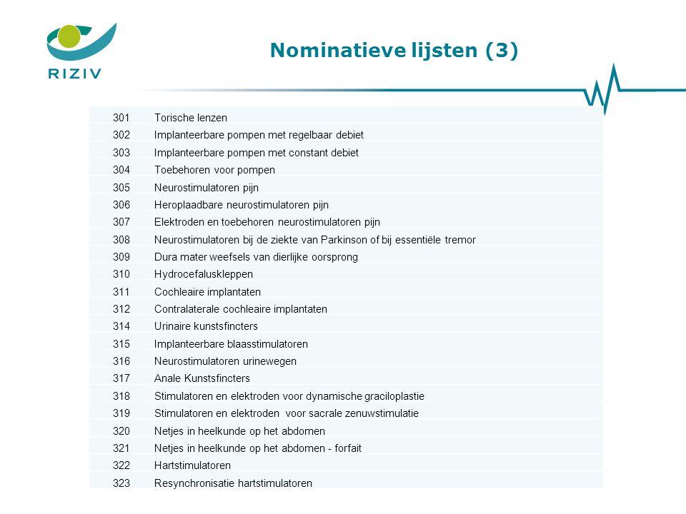 Nominatieve lijsten (3)