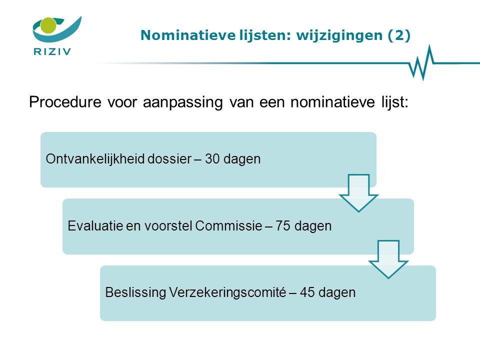 Nominatieve lijsten: wijzigingen (2)