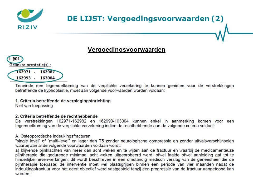 DE LIJST: Vergoedingsvoorwaarden (2)