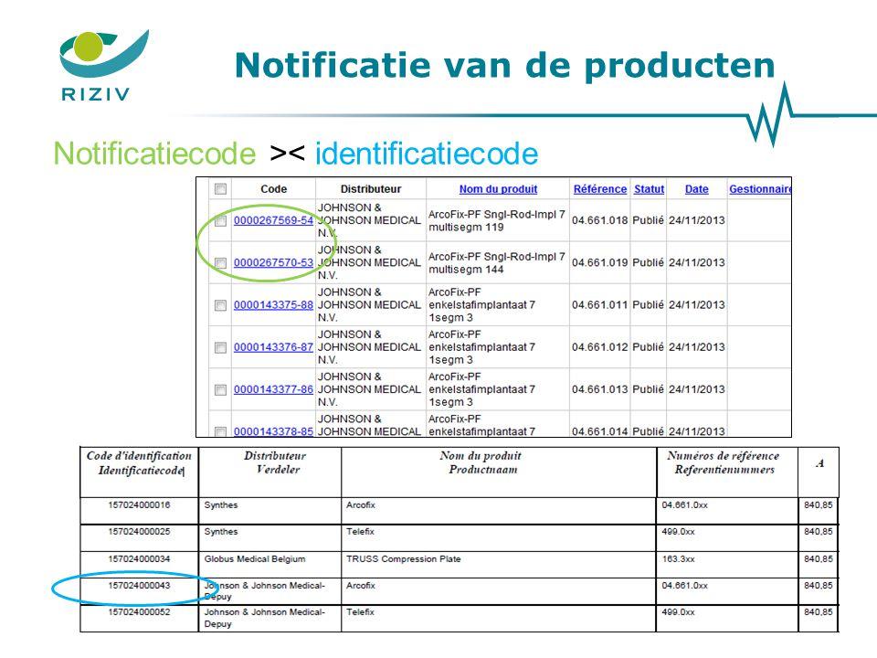 Notificatie van de producten